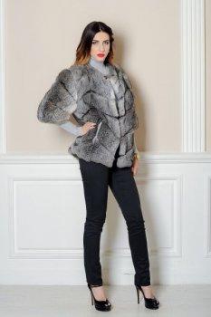 Шуба BG-Furs короткая из меха кролика Серая