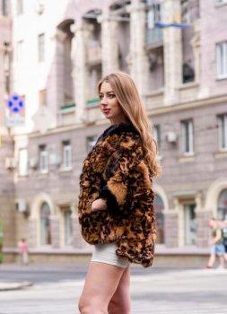 Полушубок BG-Furs из мехка кролика 65 см Леопардовый