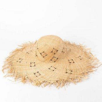 Соломенная широкополая шляпа с рваным полем Makin 55-57см (980)