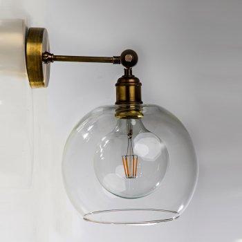 Бра для гостиной, спальни, прихожей 349 стекло прозрачный/латунь коричневый PikArt