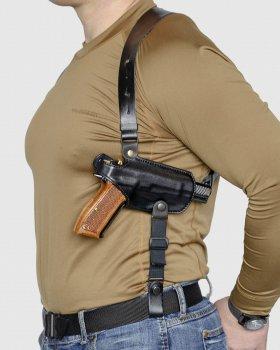 Подплечная шкіряна кобура з подсумком для магазину A-LINE для Форт-14 чорна (1КП2+)