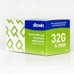 Иглы инсулиновые для шприц ручек Диавин 4 мм (DiaWin 4 mm 32G)