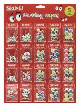 Набір самоклейних пластикових очей Maxi ПВХ кольорові 20 шт. (MX61604-02)