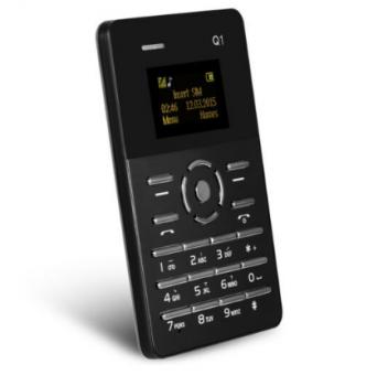 Мобільний маленький телефон Aiek Card Phone Qmart Q1 Black (MM1050)