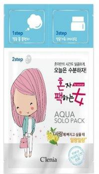 Маска для лица 3-х шаговая Clenia Solo Pack Woman Moisturizing Aqua 3 step Mask 28 мл (8809464950287)