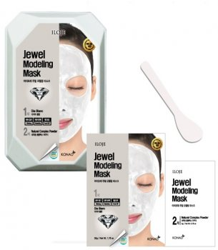 Моделирующая маска для лица Konad Iloje Jewel Modeling Mask Pack Glam Dia Blan с алмазной пудрой 55 г (8809433726042)