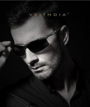 Очки мужские солнцезащитные поляризованные VEITHDIA серые линзы и оправа Veithdia (950002001)
