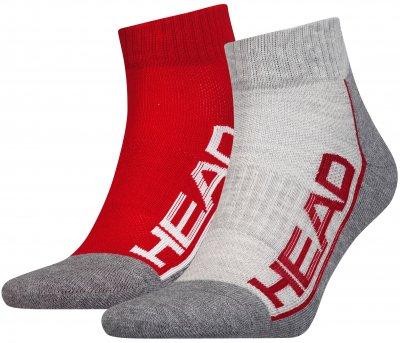 Набор носков HEAD Performance Quarter 2P Unisex 791019001-070 Красный/Серый (мужские)