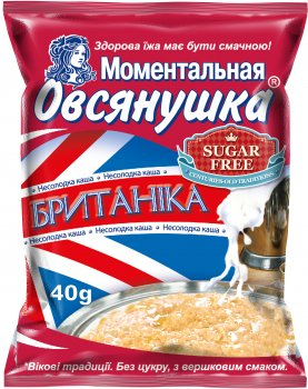 Упаковка каш вівсяних Вівсянушка Британіка з вершками 40 г х 22 шт. (4820039840899)