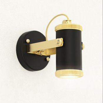Спот для вітальні, спальні, передпокої, кафе Tube 2060 алюміній чорний/латунь золотистий PikArt