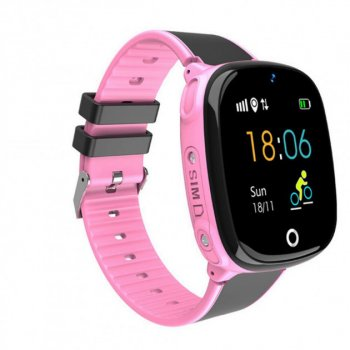 Дитячі годинник-телефон Розумні смарт годинник водонепроникні Baby Smart Watch HW11 Wi-Fi Gps Прослуховування Камера Рожево-Чорні
