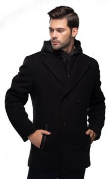 Пальто чоловіче з капюшоном Ліверпуль Кашемір Чорний