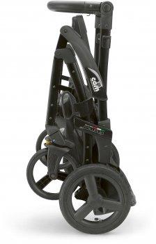 Универсальная коляска 3 в 1 CAM Dinamico Up Smart на черной раме Черная с рисунком (897T/V90/990/845K)