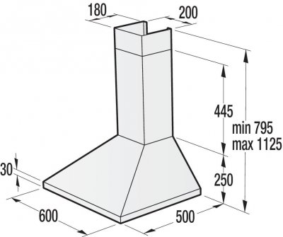 Вытяжка настенная каминная WHC623E16W белая/3 скорости/ алюминиевый фильтр