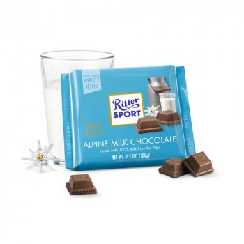 Молочный шоколад с альпийским молоком Ritter Sport Alpine Milk Chocolate 100г (00-00000111)