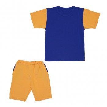 Костюм Sofushka (футболка+шорти) гірчичнийз синім 134