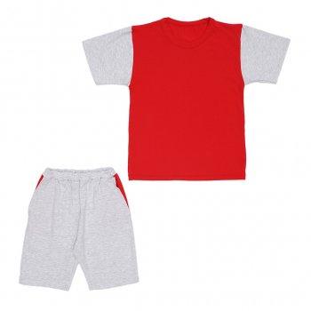 Костюм Sofushka (футболка+шорти) червоний з сірим 146