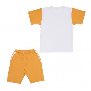 Костюм Sofushka (футболка+шорти) білий з гірчичним 134