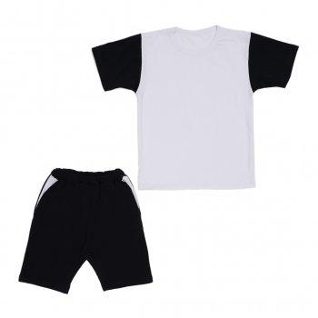 Костюм Sofushka (футболка+шорти) чорний з білим 146