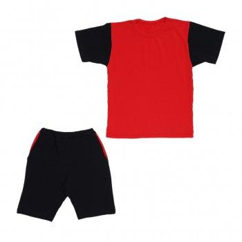 Костюм Sofushka (футболка+шорти) чорний з червоним 158