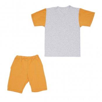 Костюм Sofushka (футболка+шорти) 0052 сірий з гірчичним 134