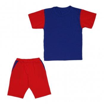 Костюм Sofushka (футболка+шорти) червоний з синім 152