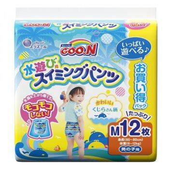Японські трусики-підгузники для плавання для хлопчиків зростанням 60-80 см Goo.N 6-12 кг M 12 шт (853663) (4902011856637)