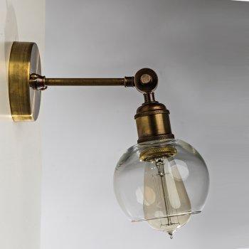 Бра для гостиной, спальни, прихожей, офиса, кафе 388-1 стекло прозрачный/латунь коричневый PikArt