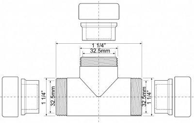 Тройник латунный McALPINE 32х32х32 мм хром (5036484045034)