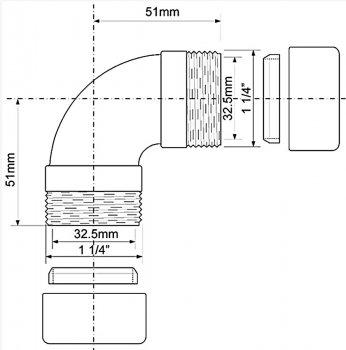 Колено латунное McALPINE 32х32 мм 90 градусов хром (5036484018939)