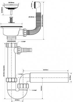 Сифон пластиковый для мойки McALPINE трубный с подключением к стиральной машине c переливом 90x50 мм (5036484043115)