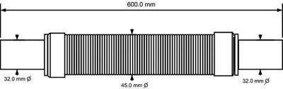 Патрубок пластиковый McALPINE 32х32/500 мм универсальный гибкий (5036484015983)