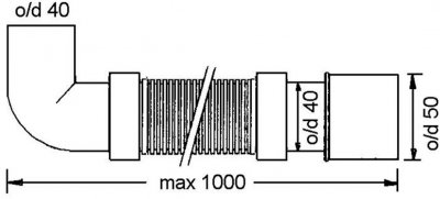 Патрубок пластиковый McALPINE 40х40/50 1000 мм универсальный гибкий с коленом 90 градусов (5036484009685)