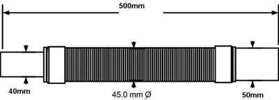 Патрубок пластиковый McALPINE 40х50/500 мм универсальный гибкий (5036484016034)
