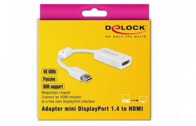 Перехідник моніторний Delock DisplayPort mini-HDMI M/F (HDMIекран) v1.4 4K@60Hz 0.1m HDR DP++ Ferit білий(70.06.3935)