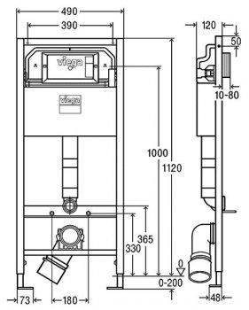 ИнсталяцииVIEGA PrevistaDry771973 c панелью смыва 773717 и креплениями 678630 + унитаз ROCA Gap Rimless A34H470000 с сиденьем Slim Soft Close дюропласт