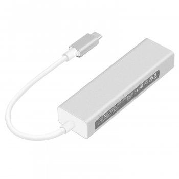 Концентратор, адаптер USB3.1 Type-C to RJ45 Gigabit (100/1000) / 3 port USB 3.0