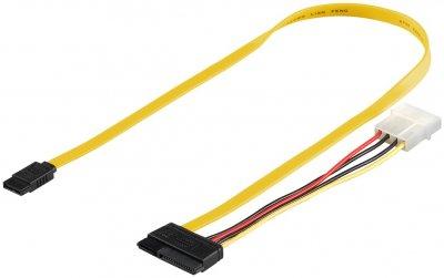 Кабель накопичувача Goobay SATA 22p-7p M/M (+Molex) 0.5m 6Gbps різнобарвний(75.06.8175)