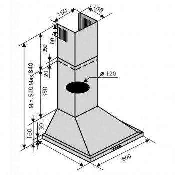 Витяжка кухонна VENTOLUX LIDO 60 WH (450)