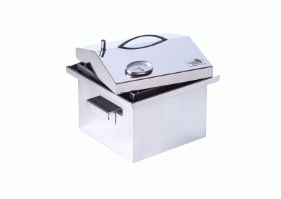 """Коптильні гарячого копчення з термометром кришка """"Будиночок"""" з нержавійки (300х300х250)"""