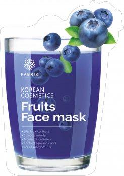 Маска биоцеллюлозная для лица Fabrik Cosmetology Fruits Face Увлажнящая с экстрактом черники 30 г (6948103808328)