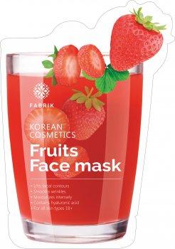 Маска биоцеллюлозная для лица Fabrik Cosmetology Fruits Face Увлажнящая с экстрактом клубники 30 г (6948103808335)