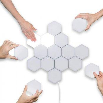 Настінний світильник сенсорний 3DTOYSLAMP Стільники Набір 6 шт + блок живлення Білі