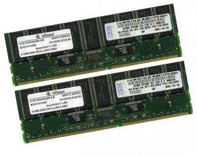 Оперативная память IBM DDR-RAM 1GB Kit 2x512MB PC1600R ECC CL2.5 (33L3284) Refurbished