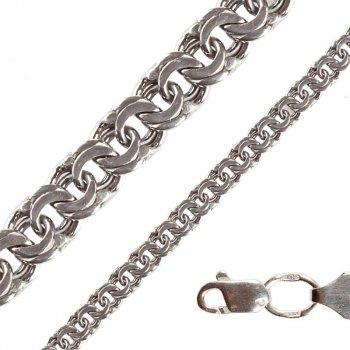 Серебряный мужской браслет Плоский Бисмарк 5мм белый