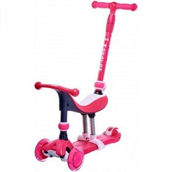 Самокат Maraton Credo 4 в 1 світяться колеса рожевий триколісний 1274