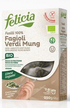 Органічна паста Felicia з зеленої квасолі Fusilli (100% борошно зеленої квасолі) 250 г