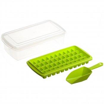 Форма для льда с контейнером и лопаткой STENSON 27 х 10 см (82590) Зеленый