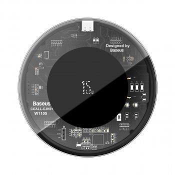 Бездротове зарядний пристрій Baseus Simple NEW Wireless Charger з технологією Qi 15W Прозорий