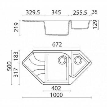 Кухонна мийка BORGIO TRZ-1000×500 сірий металік